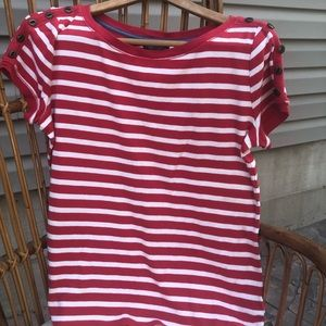 LRL red and white stripe boat shirt size Large